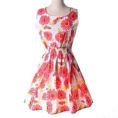 Womens Summer Red Floral Print Waist Dress