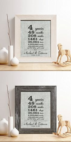 "Personalized 4th Linen Anniversary Gift for Him or Her, ""4 Years...and Counting"" Linen Print, Gifts for Husband and Wife, 4 Years Together"