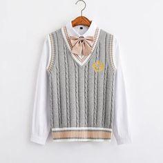 Kawaii Fashion, Cute Fashion, Girl Fashion, Fashion Design, Knit Vest, Kawaii Clothes, Teen Fashion Outfits, Preppy Style, Aesthetic Clothes