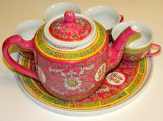 Pink Chinese Longevity Tea Set by ArbitraryLiving on Etsy, $30.00