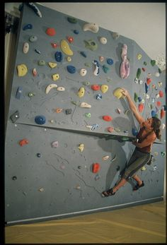 bouldering wall. Looks weird without red barn tape lol