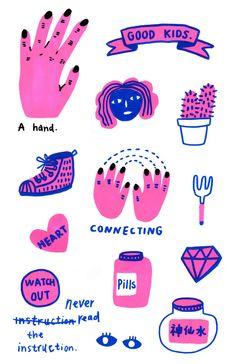 sunjiayi1995 Flat Illustration, Digital Illustration, Different Kinds Of Art, Gaming Tattoo, Good Notes, Sticker Design, Doodle Art, Illustrations Posters, Character Design