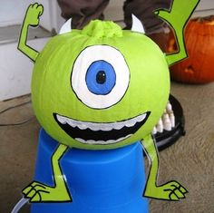 monsters inc. pumpkin  The girls would love this!!
