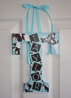 First initial with name.. baby shower gift... could also be used to decorate the shower with
