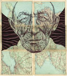 Drawing Portraits - Mark Powell Uses Old Documents And Magazines As His Drawing Surface Biro Drawing, Drawing Sketches, Art Drawings, Drawing Portraits, Sketching, Collages, Collage Art, Pencil Portrait, Portrait Art