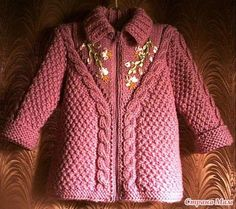knitted coat for girl - the link for this is blocked, but it's so darling I thought maybe I could make up the pattern based on it Knitting For Kids, Baby Knitting Patterns, Knitting Designs, Baby Patterns, Sweater Patterns, Free Knitting, Toddler Sweater, Knit Baby Sweaters, Knitted Baby Clothes