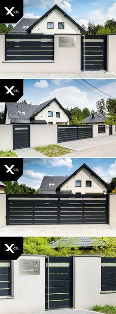 10 Whole Cool Tricks: Black Fence Backyard fence architecture raised beds.Fence Painting Mural fence for backyard house. Front Gates, Front Yard Fence, Fenced In Yard, Farm Fence, Fence Gate, Fencing, Tor Design, Fence Design, House Design