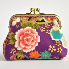 Hand crafted gold embossed Japanese coin purse small bag