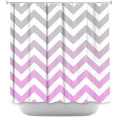 Shower Curtain Artistic Designer from DiaNoche Designs by Monika Strigel Stylish, Decorative, Unique, Cool, Fun, Funky Bathroom - Chevron Pink Grey  #showercurtain #grey #pink #ombre #chevron #fading #bathroom #home #apartment #living #new