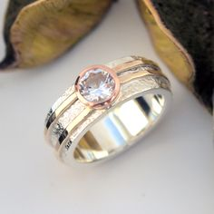 White Topaz rose gold yellow gold and silver ring Gold And Silver Rings, White Topaz, Wedding Rings, Rose Gold, Engagement Rings, Yellow, Jewelry, Rings For Engagement, Jewlery