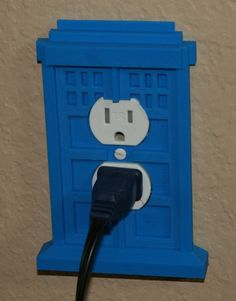 tardis outlet cover by by lookwhatjoeysmaking http://thingiverse.com/thing:74138