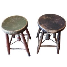 Early 1900s, Maine Schoolroom Wooden Stools (pair) | From a unique collection of antique and modern stools at http://www.1stdibs.com/furniture/seating/stools/
