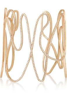Repossi White Noise 18-karat rose gold diamond cuff | NET-A-PORTER