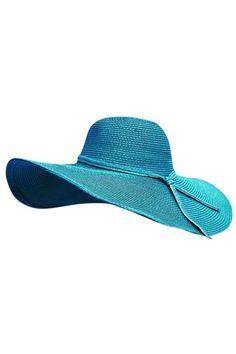b8c18900 TURQUOISE SHAPEABLE WIRE BRIM BEACH FLOPPY HAT Floppy Sun Hats, Wide-brim  Hat,