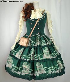 Metamorphose Rose Birdcage Vest JSK ~ Green