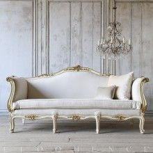 Eloquence® Glossy Cream Bright Gilt Vintage Daybed: Circa 1940