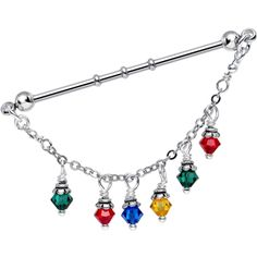 Christmas Lights Industrial Barbell MADE WITH SWAROVSKI CRYSTALS | Body Candy Body Jewelry #bodycandy
