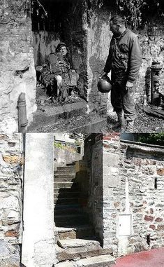 GI observes dead German soldier at the entrance to what appears to be a residence at Rue Armand Levéel in Cherbourg, 1944 and the same entrance today