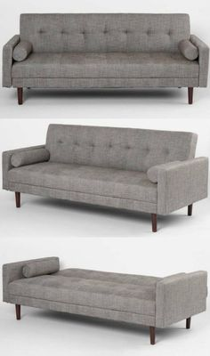 Gray grey button curved tufted sectional sofa set taupe for Sofa bed you can sleep every night
