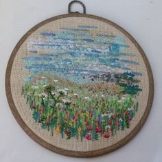 Seaviews And Wild Flowers - Hand Stitched Embroidery Hoop Artwork - pinned by pin4etsy.com