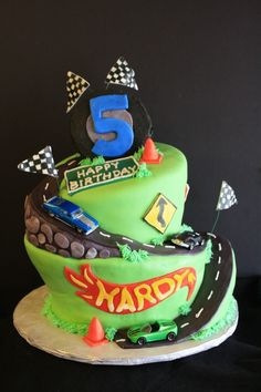 Wonky Hot Wheels Birthday Cake with a road that goes all the way around the carved cake!