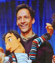Danny Pudi and Abed puppet