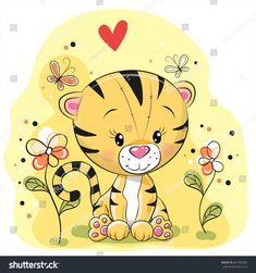 Imagens, fotos stock e vetores similares de Cute Cartoon Fox with flowers on a white background - 1178502295 Cute Images, Cute Pictures, Lion Tigre, Cartoon Mignon, Cartoon Elephant, Tatty Teddy, Cute Cartoon, Kids And Parenting, Cartoon Characters