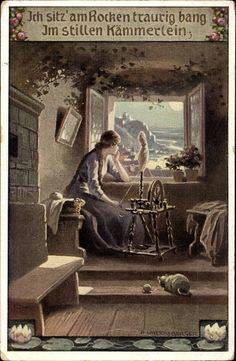 Song Postcard Untersberger, A., Volksliederkarten Nr. 83, Es blickt so still der Mond mich an, Spinnrad