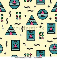 Seamless memphis geometric abstract weird face pattern background