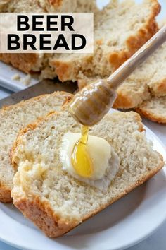 Quick and easy to whip up with minimal ingredients this Beer Bread is buttery sweet and absolutely flavorful One of those recipes you must keep on hand beerbread bread baking quickbread recipe easyrecipe Best Bread Recipe, Quick Bread Recipes, Beer Recipes, Beer Bread Recipe Yeast, Thermomix Bread, Chicken Recipes, Breakfast Bread Recipes, Easy Baking Recipes, Meatball Recipes
