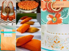 turqoise and tangerine wedding, teal wedding, teal wedding cake
