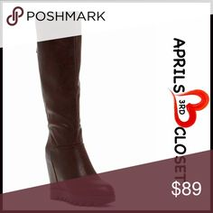 "Tall BOOTS Wedge Riding Boots 💟NEW WITH TAGS💟 RETAIL PRICE: $135 Tall BOOTS Wedge Riding Boots  * Allover vegan leather  * Wedge heel w/rugged textured sole    * Almond toe   * Back zip detail & instep zip closure  * About 14"" shaft & 15"" opening  * 5.5"" high heels & 1"" platform Fabric: Faux Leather Manmade Upper, PU sole Color: Black Item#B96200  🚫No Trades🚫 ✅ Offers Considered*✅ *Please use the blue 'offer' button to submit an offer. Elegant Shoes Over the Knee Boots"