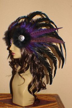 Ready to ship Purple, black, green, and plum feather headdress with art nouveau lady pendants. sold
