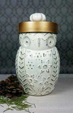 White & Gold Distressed Owl Jar with Knob, Handmade Candy Jar, Cookie Jar, Desk Jar, Utensil Holder, Coffee Tea Jar, Owl Jar, Kitchen Decor by ShabbyChicRetreat on Etsy