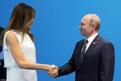 First Lady Melania Trump, sidelined for part of Friday's international summit events by anti-globalization protesters, had a cameo appearance at her husband's closely watched meeting with Russian President Vladimir Putin. Donald And Melania Trump, First Lady Melania Trump, Donald Trump, Trump Melania, Putin Trump, Wladimir Putin, Rex Tillerson, Aria, North Korea