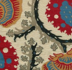 Suzani Woven Fabric Red, gold, blue and off white woven jacquard with influences from the Far East