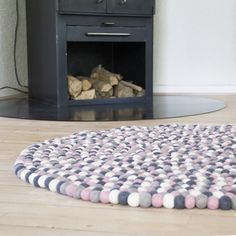 Pink, grey & white felt ball rug from Una LIVING -   Felt ball rug: http://unaliving.com  Kugletæppe: http://unaliving.dk  Filzkugelteppich: http://unaliving.de    We have 14 different designs