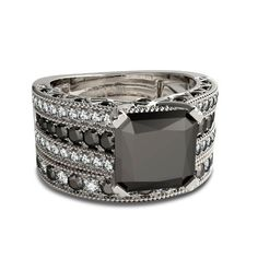 Buy this classic and elegant natural black diamond princess cut bridal set for your special days. Total carats in weight. Shop Now. Princess Cut Bridal Sets, Bridal Ring Sets, Princess Cut Diamonds, Bridal Rings, Black Diamond Wedding Sets, Diamond Wedding Rings, Wedding Ring Bands, Cheap Wedding Rings, Wedding Rings For Women