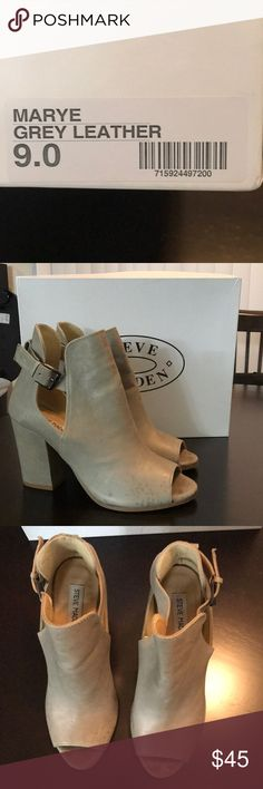 Steve Madden Marye Grey Leather Size (9) Grey Leather heel, minor water spots. Only worn once due to them being to high of a heel for me. Open toe with side silver buckle. Steve Madden Shoes Ankle Boots & Booties