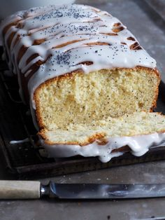 - Sitronkake - Lemon Cake with poppyseeds, and potato flour/starch for lightness - roll cake into folie when still warm out of oven Potato Flour, Loaf Cake, Fika, Food Festival, Let Them Eat Cake, Banana Bread, Bakery, Food Porn, Food And Drink