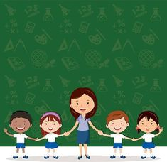 Female teacher and school children. Education Icon, Kids Education, Teachers Day Drawing, Teacher Picture, Kids Awards, Powerpoint Background Design, Classroom Images, Islamic Cartoon, Kids Background