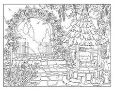 house and front garden coloring page - BúsquedadeGoogle Garden Coloring Pages, Coloring Book Pages, Colorful Garden, Line Art, Tapestry, Draw, Illustration, 5 Years, Graphics