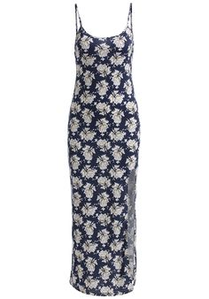 Blue+Spaghetti+Strap+Floral+Split+Dress+17.00