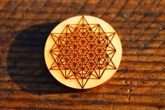 64 Sided Tetrahedron Wood Pin // Sacred Geometry Wood by TameMane