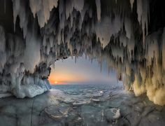 Ice grotto - Ice caves of the island Kharantsy on Baikal has long been the main attraction of Baikal in winter. This photo is the result of crosslinking 14 frames.