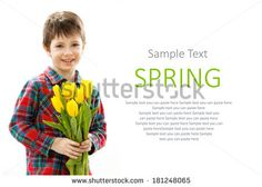 Smiling boy with a bouquet of yellow flowers . Spring, March 8, International Womens, Mothers day, family holiday. Isolated white background