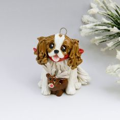 Cavalier King Charles Spaniel Ornament Blenheim by TheMagicSleigh, $25.00
