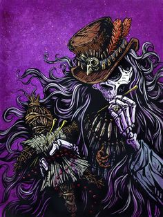 Voodoo Priest by David Lozeau canvas giclee art print. Design items include a black magic skeleton doctor and voodoo doll. Made-to-order Giclee fine art reproductions on canvas featuring the original Stretched Canvas Prints, Canvas Art Prints, Skeleton Art, Skeleton Tattoos, Arte Horror, Clown Horror, Lowbrow Art, Skull Art, Black Magic