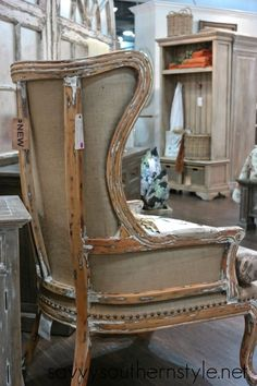 deconstructed, yet somewhat constructed wing chair Repurposed Furniture, Rustic Furniture, Painted Furniture, Home Furniture, Metal Furniture, French Furniture, Modern Furniture, Furniture Design, Reupholster Furniture