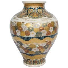19th Century Satsuma Vase. Hand-Painted Porcelain, Meiji Period 1868